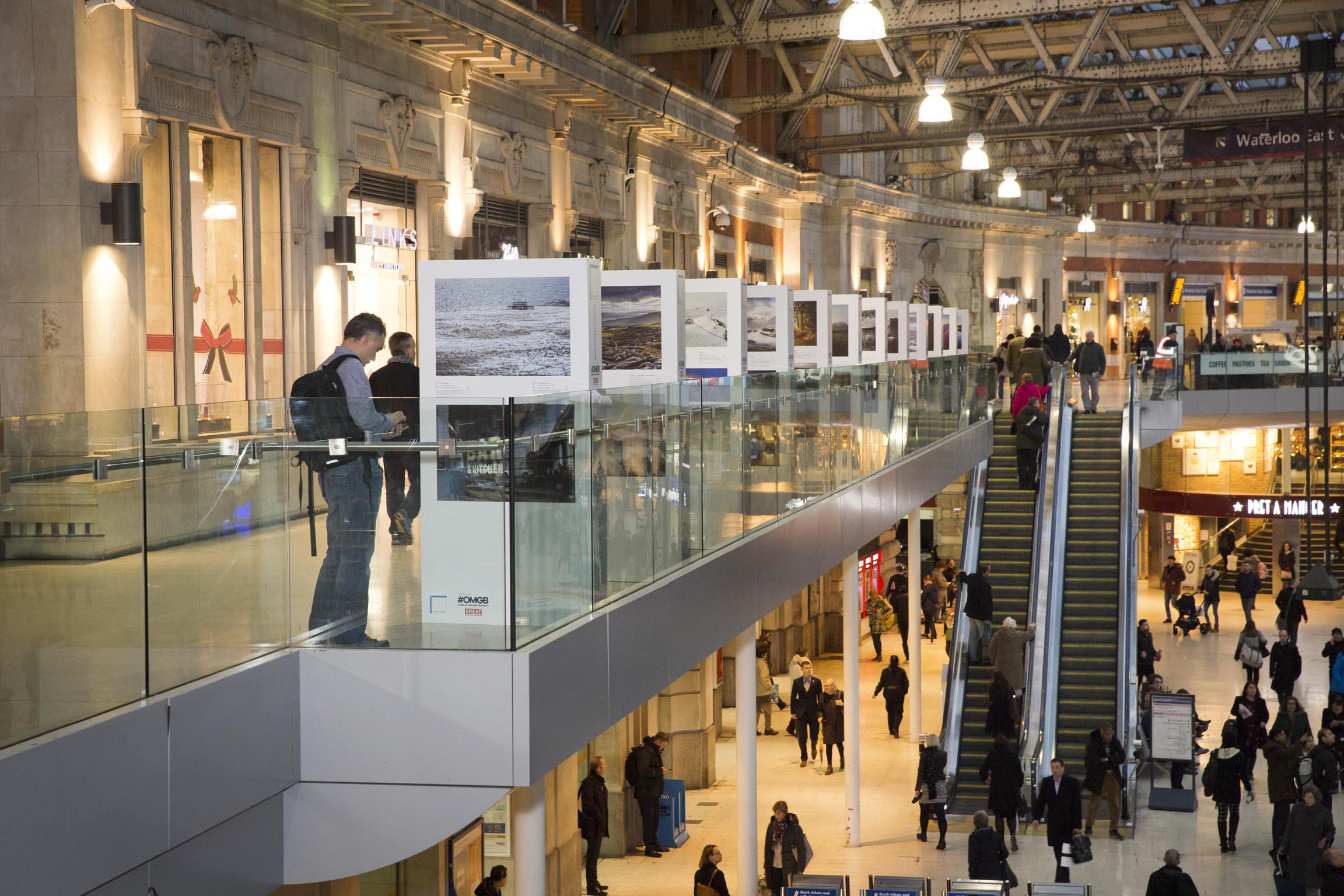 Landscape Photographer of the Year exhibition in Waterloo Station.