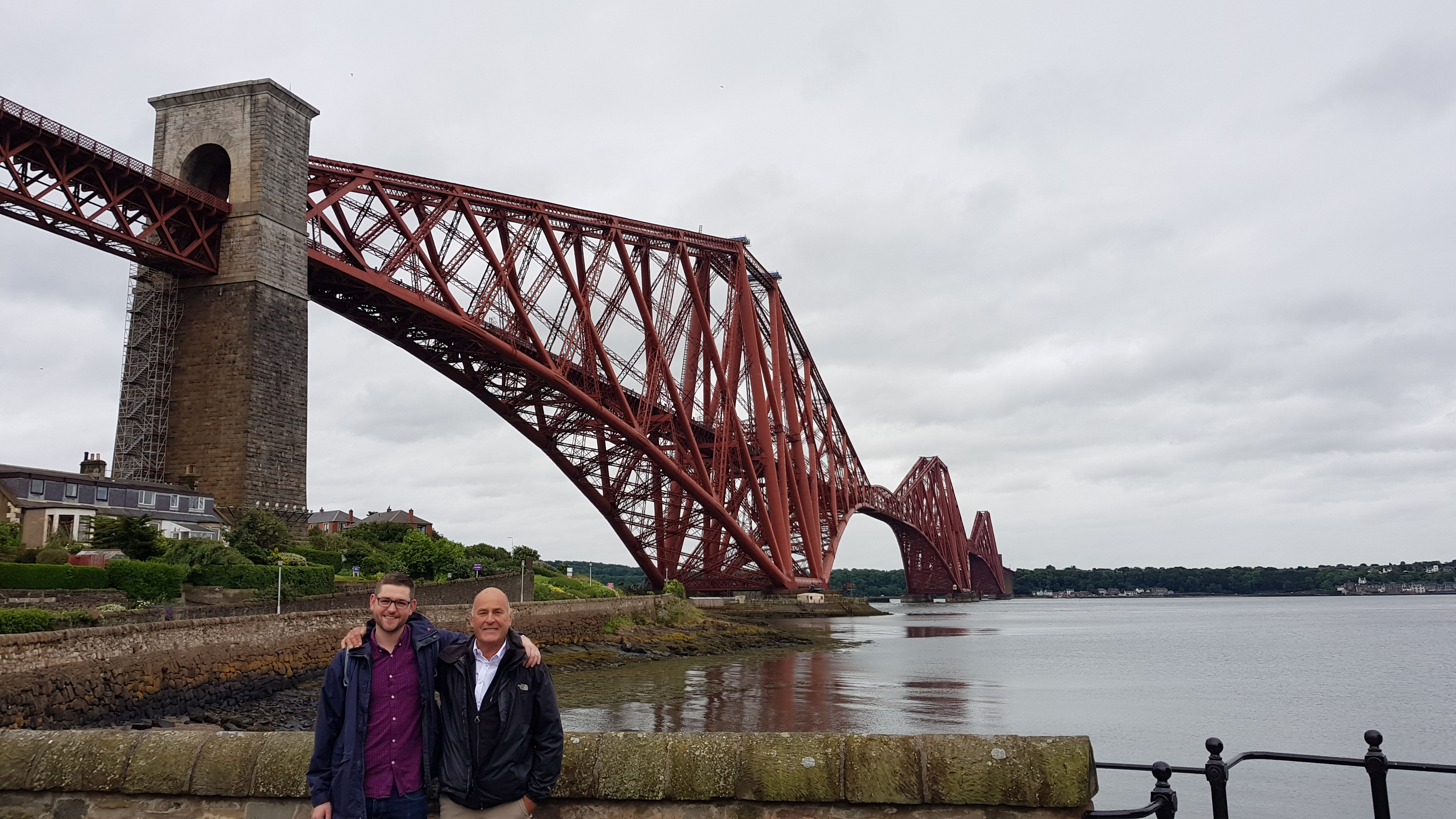Francis Taylor and Charlie Waite at the Forth Bridge, Scotland