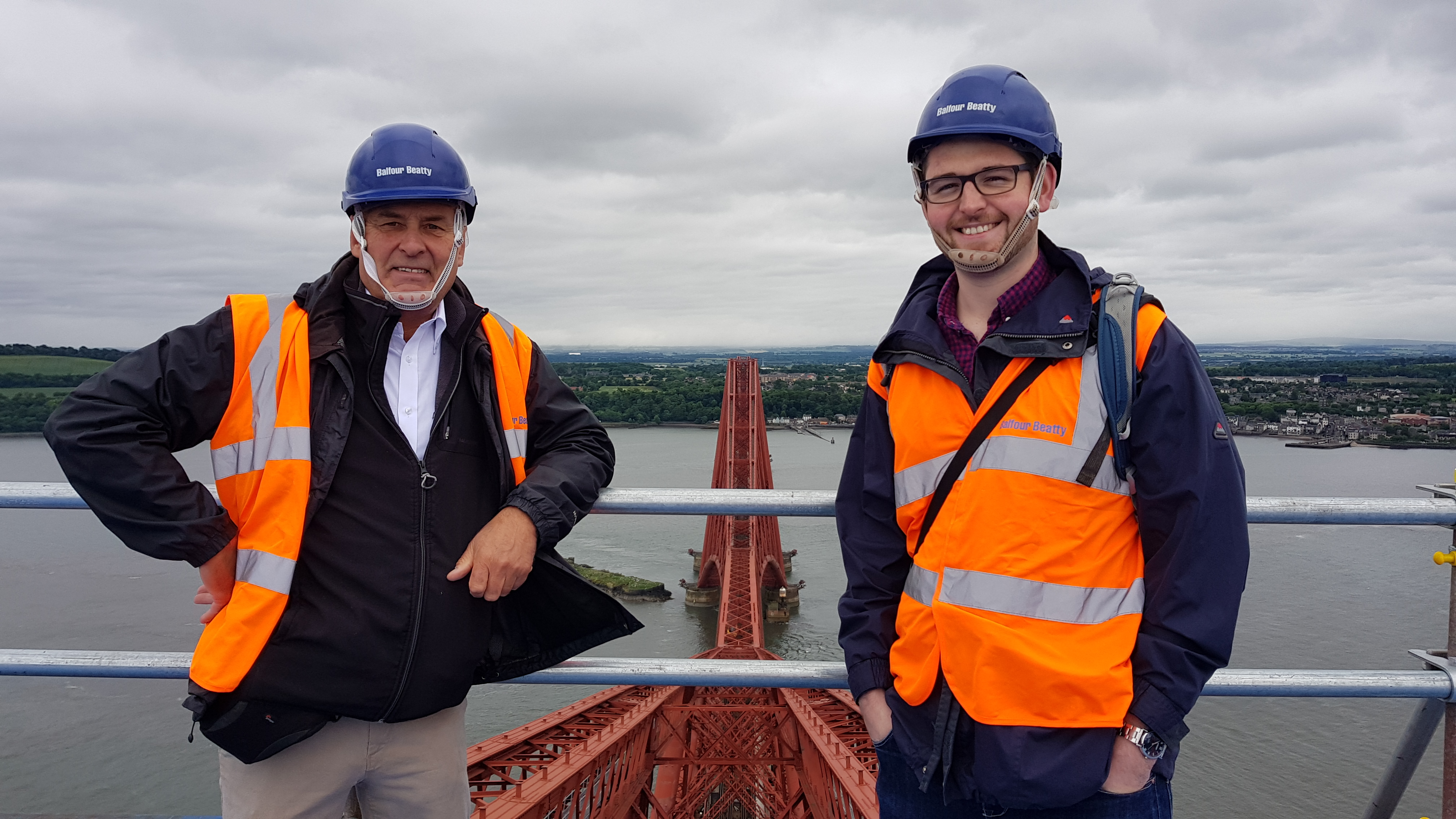 Francis Taylor and Charlie Waite on top of the Forth Bridge