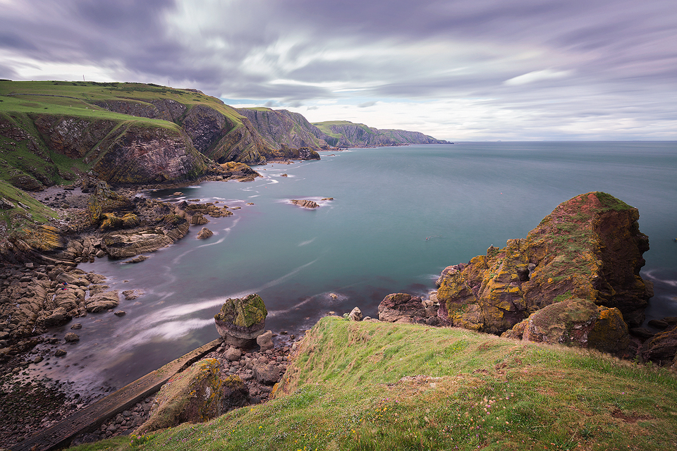 Long exposure of St Abbs Head, shwoing the colour of the beautiful turquoise water.