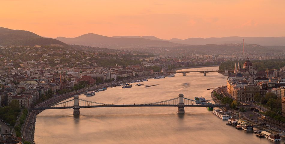 View along the Danube From Gellért Hill, Budapest Hungary.