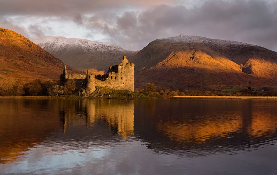 Kilchurn Castle at Dawn reflected in the Loch - Scotland Photography