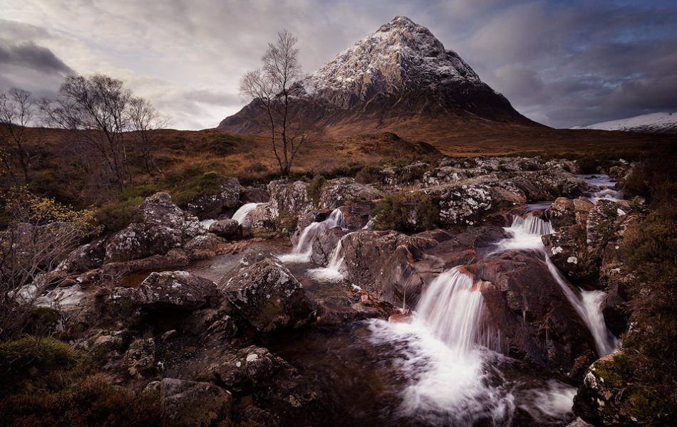 Classic view of Buachaille Etive Mòr with a fresh dusting of snow.