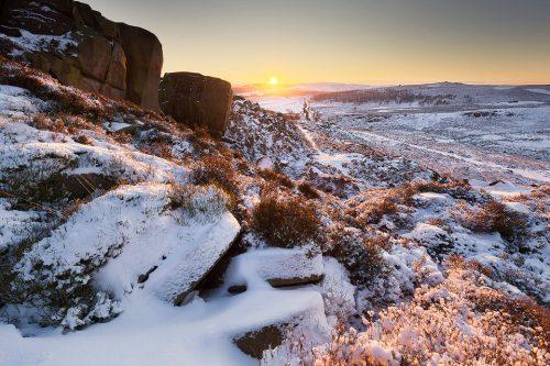 Burbage Edge Millstones in Snow