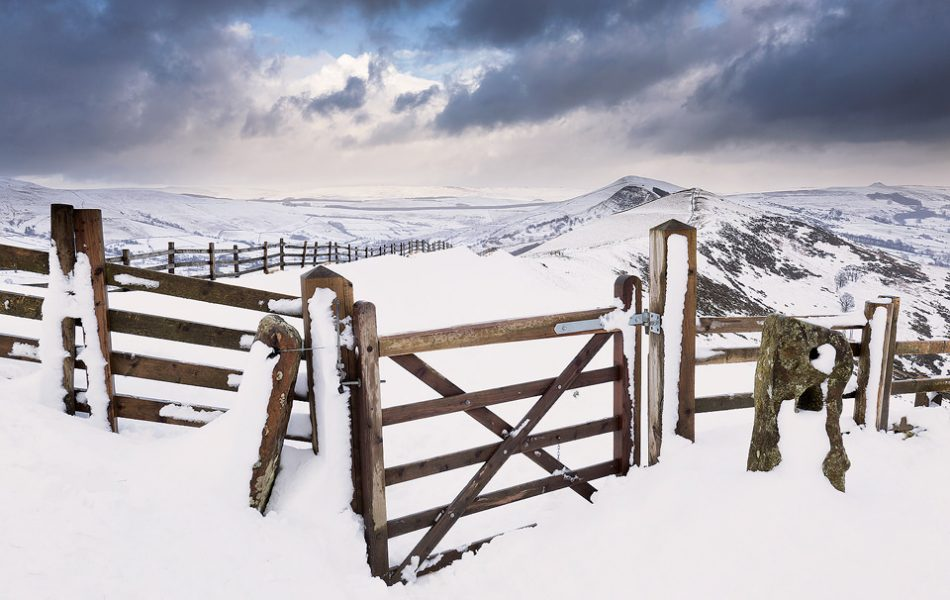 On my way along the great ridge to Back Tor I couldn't resist stopping to capture this classic view with the moody snow clouds. This view of the gate on Mam Tor is one of the most iconic views of the Peak District National Park, and as clichéd as it has become, it is still a must have for any Peak District landscape photographers collection.