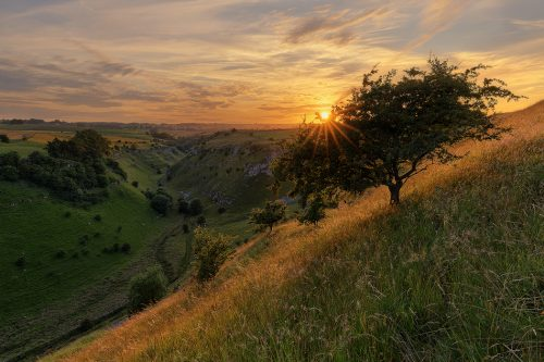 Summer sunset at Lathkill Dale near Monyash, Derbyshire - Peak District photography