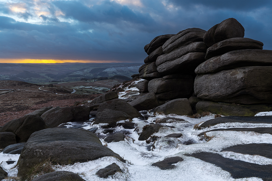 Stormy light at the shelter stones, Higger Tor - Peak District Photography