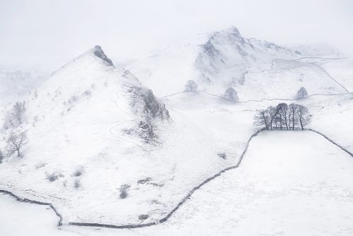 Chrome and Parkhouse hills in a snowstorm - Peak District Photography