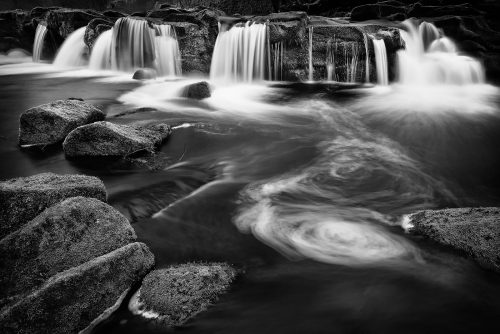 Yorkshire Bridge Waterfall - Peak District black and white Photography
