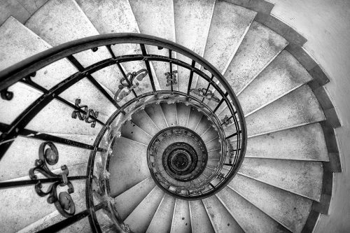 The beautiful spiral staircase inside St. Stephen's Basilica in Budapest.