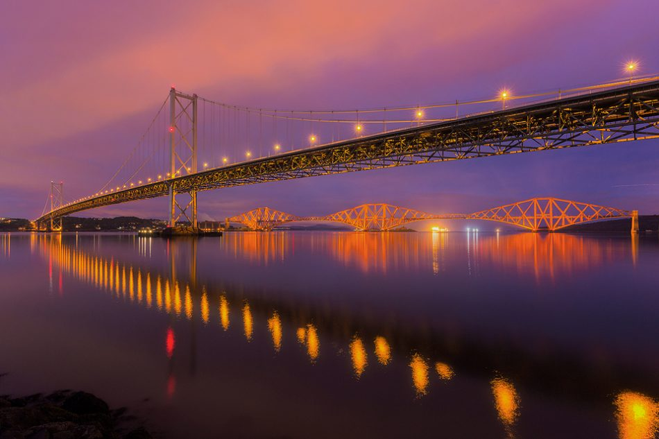The Forth Road and Rail bridges during the blue hour, I was really lucky to get a calm evening for some nice reflections! - Forth Bridges, Firth of Forth, Scotland.