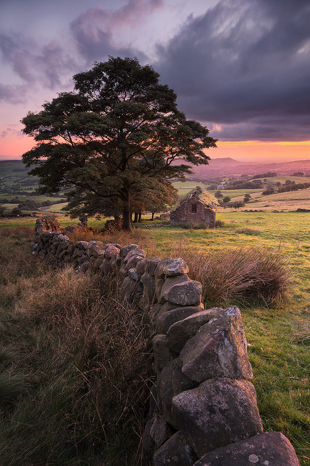 Roach End Barn Sunset - Peak District Photography