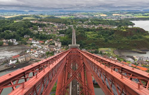 View from the top of the Forth Rail Bridge, looking towards North Queensferry, Firth of Forth, Scotland.