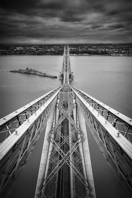 Leading lines of the Forth Rail Bridge, looking towards South Queensferry, Firth of Forth, Scotland.