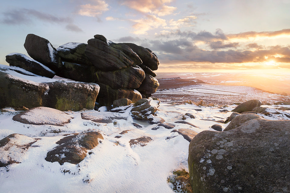 Shelter Rock on Higger Tor. Some of you may remember I posted a similar composition before the snow came a little while back, but I much prefer this new image with the pristine snow and lovely sunset.