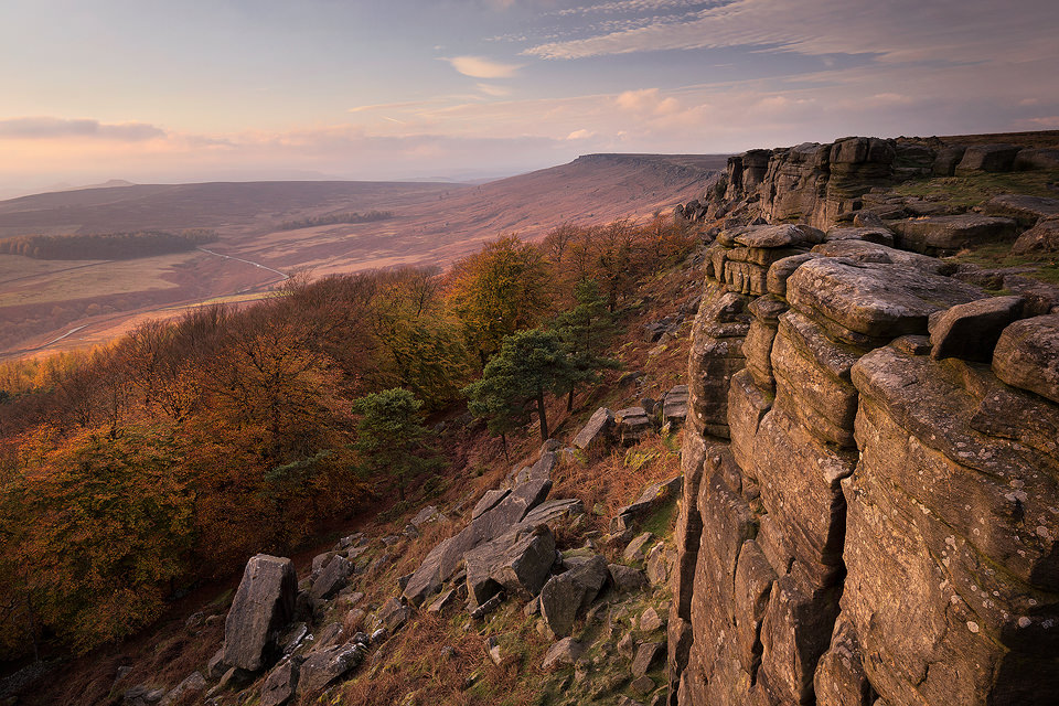 Late Autumn on Stanage Edge. The soft afternoon light really helped to bring out the Autumn colour in the plantation and the details on the edge.