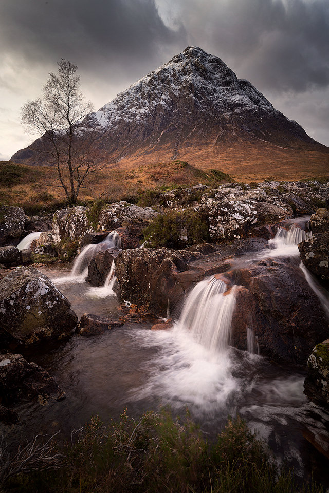 Classic view of Buachaille Etive Mòr with a fresh dusting of snow