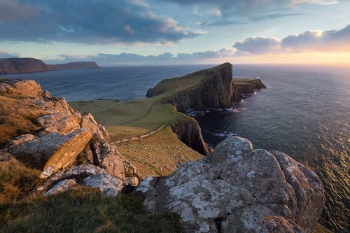 Beautiful sunset at Neist point on the Isle of Skye.