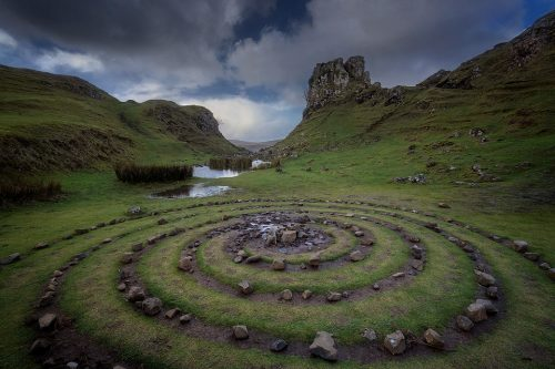 The wonderful fairy glen near Uig. This spiral of rocks made a great foreground looking across to this distinctive tower of rock known locally as Castle Ewan.