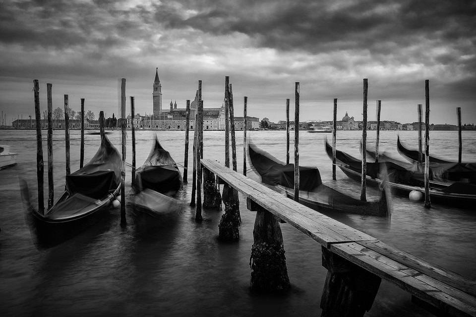 The iconic Ventian gondolas bobbing on the lagoon, looking towards San Giorgio Maggiore. This classic view from San Marco was particularly tricky as I didn't have my tripod with me at the time so I had to balance the camera on whatever I could find! This made composition very tricky but I'm happy with this classic view of Venice despite the challenges.