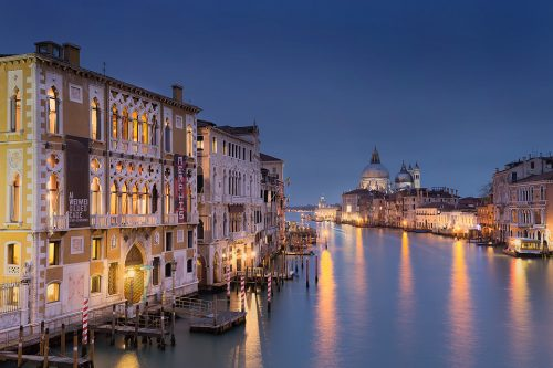 Blue hour overlooking the Venice Grand Canal (Canal Grande). This iconic view from the Ponte dell'Accademia looking towards the Basilica Santa Maria della Salute, is my favourite view in the beautiful city of Venice.