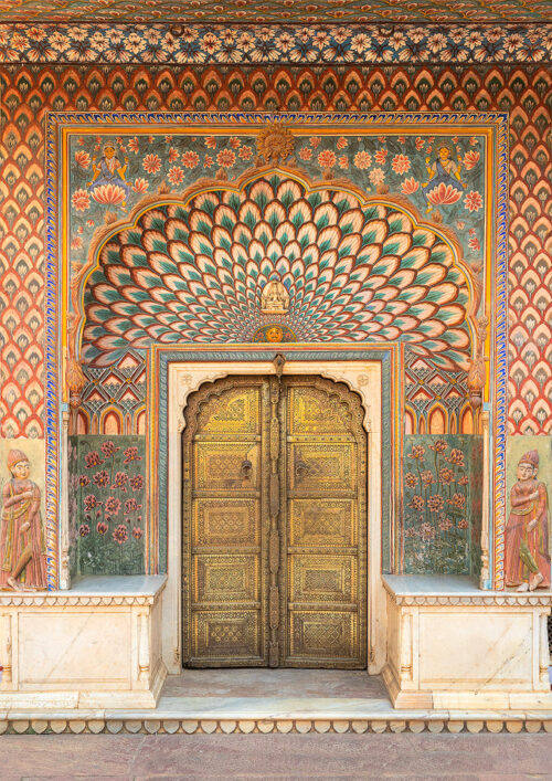 The Lotus Gate, which represents Summer and is dedicated to Shiva and Parvati. Pritam Niwas Chowk, City Palace, Jaipur, India.