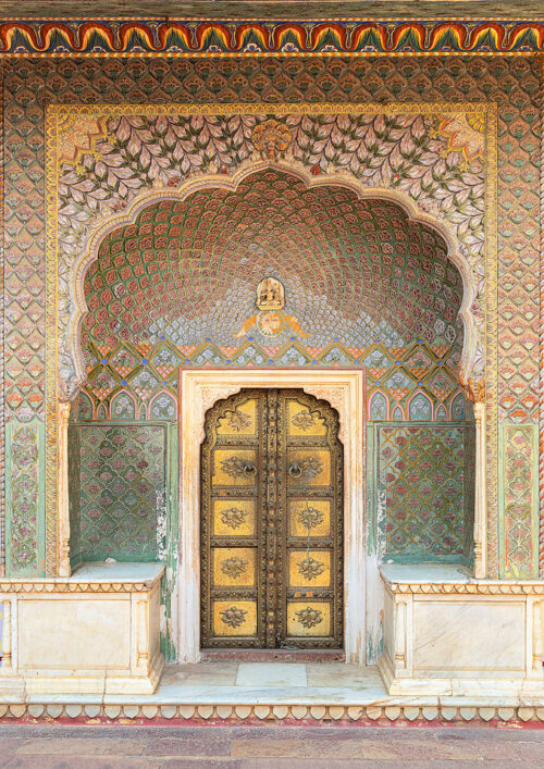 The Rose Gate, which represents Winter and is dedicated to the Goddess Devi. Pritam Niwas Chowk, City Palace, Jaipur, India.