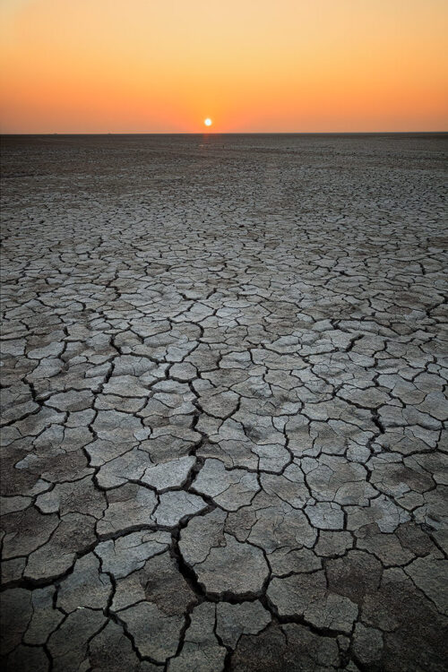 Sunset on the dry desolate Rann. Little Rann of Kutch, Gujarat, India. The Little Rann of Kutch (LRK) is a unique habitat comprising of saline desert plains, thorny scrubland, arid grasslands, wetlands and marshes.