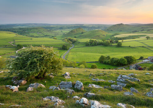 A Spring evening overlooking the the iconic peaks of Chrome and Parkhouse, Upper Dove Valley. Peak District National Park, UK.